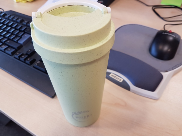 Huski Home sustainable rice husk travel cup in pistachio