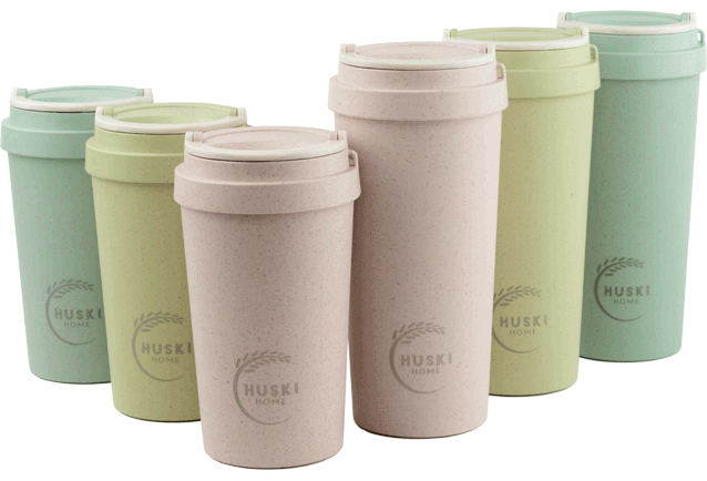 The Huski Home travel cup is made from rice husks, a by-product of mass production that would otherwise be burnt to dispose of it.
