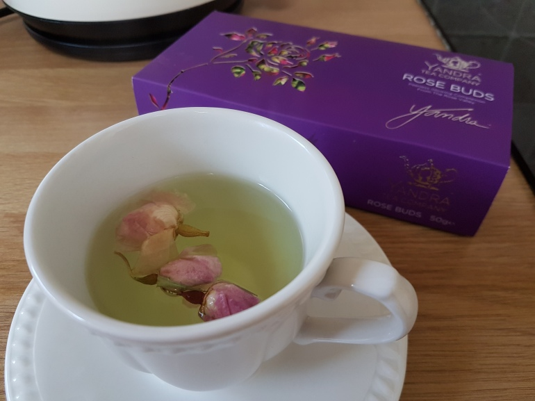 Rose bud tea from Yandra Tea company, use 2-4 buds and pour over hot water, brew for five minutes